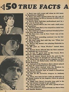 <cite>Tiger Beat Presents Davy Jones</cite> (December 1967), 50 True Facts About Davy Jones, Page 56