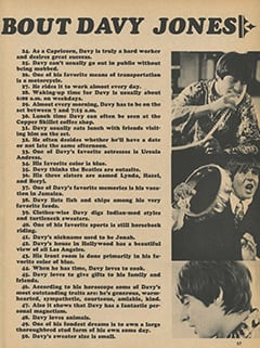 <cite>Tiger Beat Presents Davy Jones</cite> (December 1967), 50 True Facts About Davy Jones, Page 57