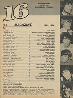 <cite>16</cite> (January 1968) table of contents