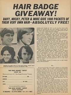 <cite>16</cite> (January 1968), Hair Badge Giveaway, Page 38