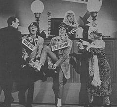 Henry Weatherspoon (George Furth), Mike Nesmith, Davy Jones, Peter Tork, Mildred Weatherspoon (Ruth Buzzi)