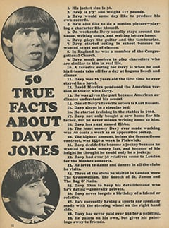 <cite>Monkee Spectacular</cite> (January 1968), 50 True Facts About Davy Jones, Page 10