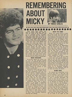 <cite>Monkee Spectacular</cite> (January 1968), Remembering About Micky, Page 32