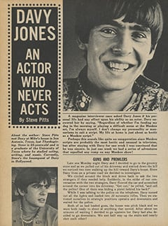<cite>Monkee Spectacular</cite> (January 1968), Davy Jones: An Actor Who Never Acts, Page 38