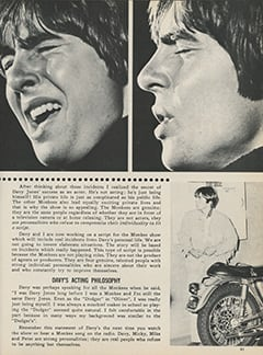 <cite>Monkee Spectacular</cite> (January 1968), Davy Jones: An Actor Who Never Acts, Page 41