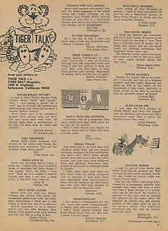 <cite>Tiger Beat</cite> (January 1968), Tiger Talk, Page 09