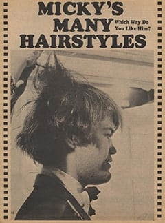 <cite>Tiger Beat</cite> (January 1968), Micky&rsquo;s Many Hairstyles, Page 12