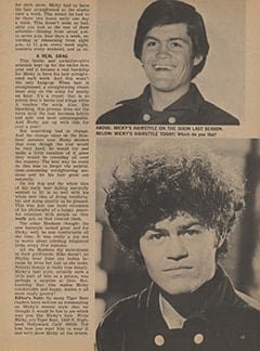 <cite>Tiger Beat</cite> (January 1968), Micky&rsquo;s Many Hairstyles, Page 15