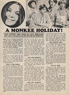 <cite>Tiger Beat</cite> (January 1968), A Monkee Holiday, Page 28