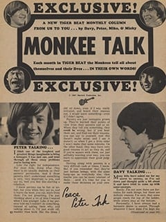 <cite>Tiger Beat</cite> (January 1968), Monkee Talk, Page 52