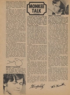 <cite>Tiger Beat</cite> (January 1968), Monkee Talk, Page 54