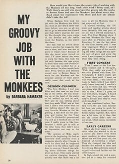 <cite>Monkee Spectacular</cite> (February 1968), My Groovy Job with The Monkees, Page 28