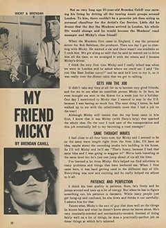 <cite>Monkee Spectacular</cite> ((originally February 1968) 1987), My Friend Micky, Page 32