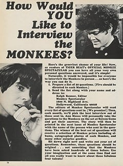<cite>Monkee Spectacular</cite> ((originally February 1968) 1987), How Would You Like to Interview The Monkees?, Page 36