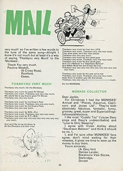 <cite>Monkees Monthly</cite> (February 1968), Monkee Mail, Page 29