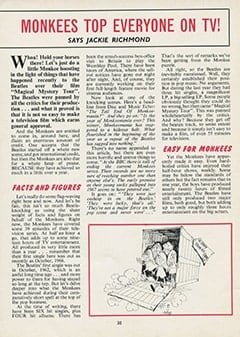 <cite>Monkees Monthly</cite> (February 1968), Monkees Top Everyone on TV, Page 30
