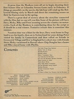 <cite>Monkee Spectacular</cite> (March 1968) table of contents