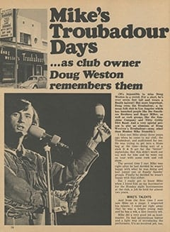 <cite>Monkee Spectacular</cite> (March 1968), Mike's Troubadour Days, Page 16