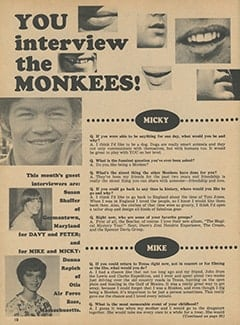 <cite>Monkee Spectacular</cite> (March 1968), You Interview The Monkees, Page 18