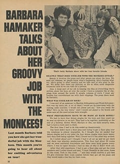 <cite>Monkee Spectacular</cite> (March 1968), Barbara Hamaker Talks About Her Groovy Job with The Monkees, Page 22