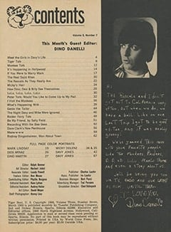 <cite>Tiger Beat</cite> (March 1968) table of contents