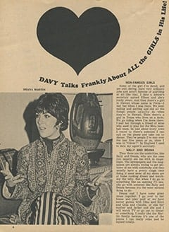 <cite>Tiger Beat</cite> (March 1968), Davy Talks Frankly About All the Girls in His Life, Page 06