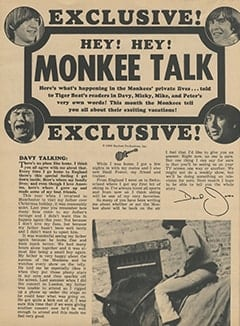 <cite>Tiger Beat</cite> (March 1968), Monkee Talk, Page 12