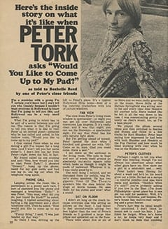 "<cite>Tiger Beat</cite> (March 1968), Here's the Inside Story on What It's Like When Peter Tork Asks ""Would You Like to Come Up to My Pad?"", Page 32"