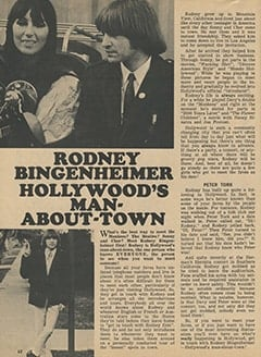 <cite>Tiger Beat</cite> (March 1968), Rodney Bingenheimer, Hollywood's Man-About-Town, Page 62