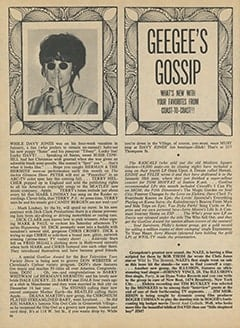 <cite>16</cite> (April 1968), Geegee's Gossip, Page 36