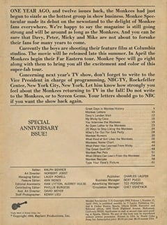 <cite>Monkee Spectacular</cite> (April 1968) table of contents