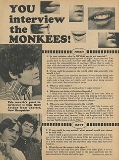 <cite>Monkee Spectacular</cite> (April 1968), You Interview The Monkees, Page 18