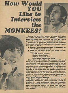 <cite>Monkee Spectacular</cite> (April 1968), How Would You Like to Interview The Monkees?, Page 22