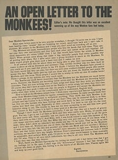 <cite>Monkee Spectacular</cite> (April 1968), An Open Letter to The Monkees, Page 23