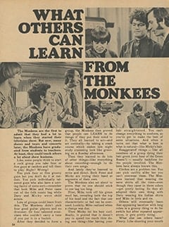 <cite>Monkee Spectacular</cite> (April 1968), What Others Can Learn from The Monkees, Page 54