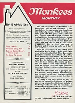 <cite>Monkees Monthly</cite> (April 1968) table of contents