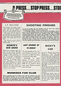 <cite>Monkees Monthly</cite> (April 1968), Stop Press, Page 19