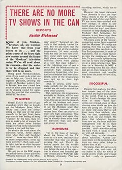<cite>Monkees Monthly</cite> (April 1968), There Are No More TV Shows in the Can, Page 31