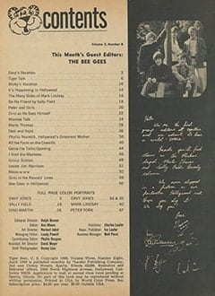 <cite>Tiger Beat</cite> (April 1968) table of contents