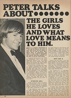 <cite>Tiger Beat</cite> (April 1968), Peter Talks About the Girls He Loves and What Love Means to Him, Page 20
