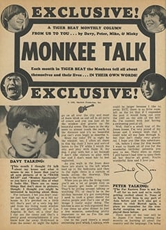 <cite>Tiger Beat</cite> (April 1968), Monkee Talk, Page 24