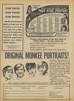 <cite>Tiger Beat</cite> (April 1968), Stop Press, Page 59