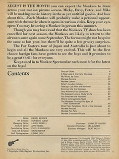 <cite>Monkee Spectacular</cite> (May 1968) table of contents
