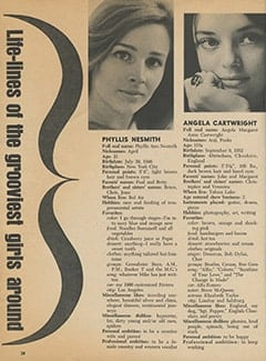<cite>Tiger Beat</cite> (June 1968), Life-lines of the Grooviest Girls Around, Page 38