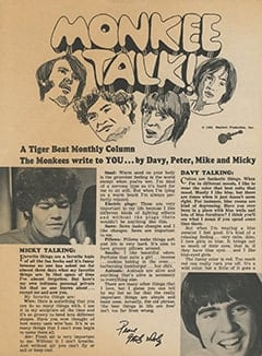 <cite>Tiger Beat</cite> (June 1968), Monkee Talk, Page 62