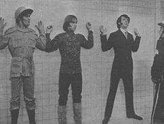Micky Dolenz, Peter Tork, Mike Nesmith, Officer Faye Lapid (Logan Ramsey)