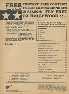 <cite>Monkee Spectacular</cite> (July 1968) table of contents