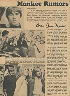 <cite>Monkee Spectacular</cite> (July 1968), Monkee Rumors, Page 22