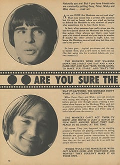 <cite>Monkee Spectacular</cite> (July 1968), Are You Sure The Monkees Can Act & Sing?, Page 40