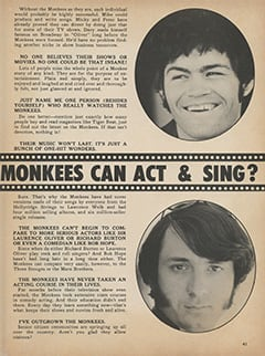 <cite>Monkee Spectacular</cite> (July 1968), Are You Sure The Monkees Can Act & Sing?, Page 41